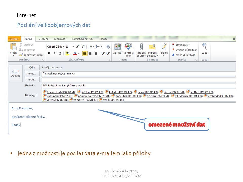 Internet jedna z možností je posílat data e-mailem jako přílohy Posílání velkoobjemových dat