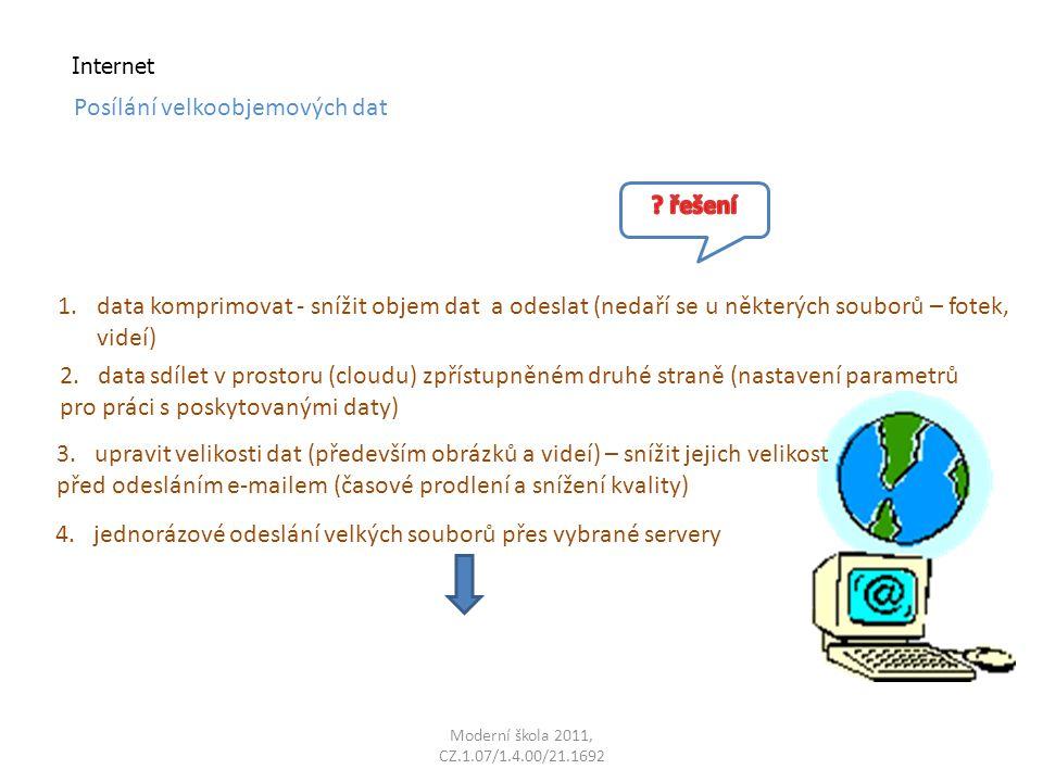 Moderní škola 2011, CZ.1.07/1.4.00/21.1692 Internet Posílání velkoobjemových dat 1.data komprimovat - snížit objem dat a odeslat (nedaří se u některých souborů – fotek, videí) 2.