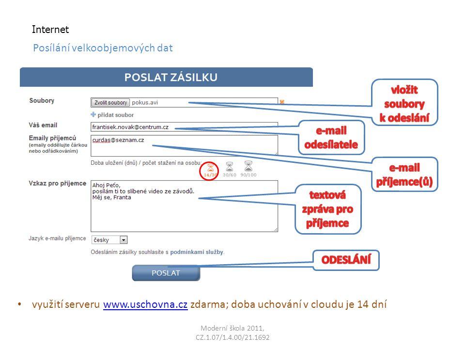 Moderní škola 2011, CZ.1.07/1.4.00/21.1692 Internet Posílání velkoobjemových dat využití serveru www.uschovna.cz zdarma; doba uchování v cloudu je 14 dníwww.uschovna.cz