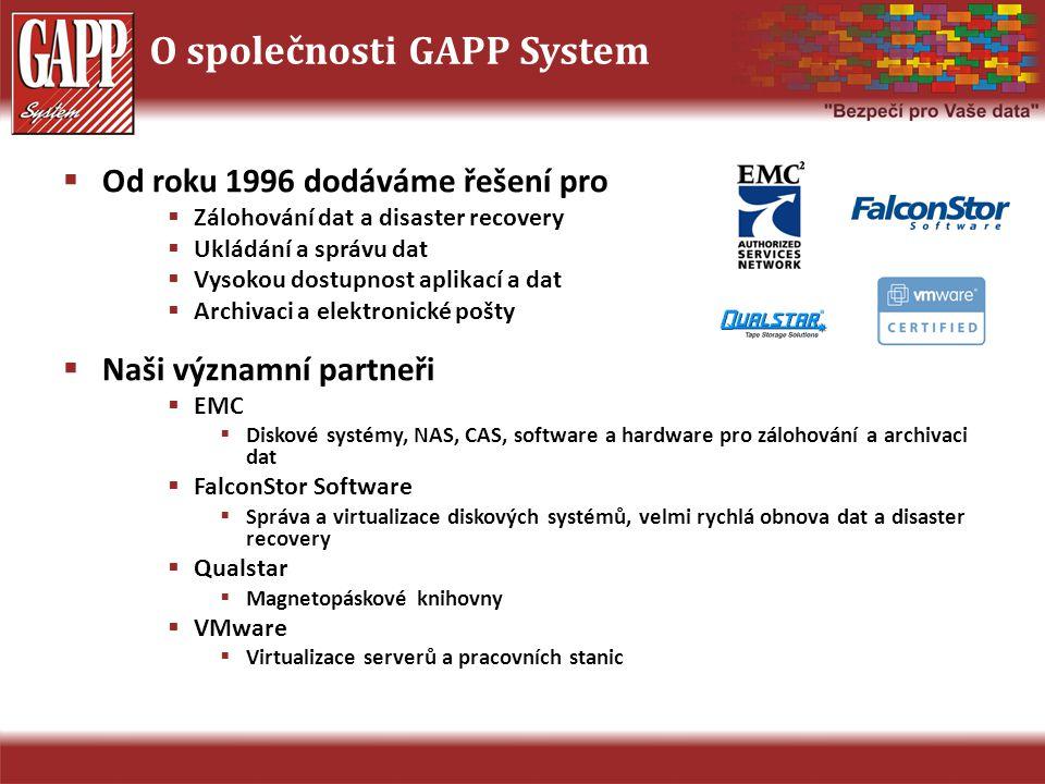 O společnosti GAPP System  Od roku 1996 dodáváme řešení pro  Zálohování dat a disaster recovery  Ukládání a správu dat  Vysokou dostupnost aplikac