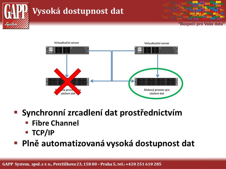 Vysoká dostupnost dat  Synchronní zrcadlení dat prostřednictvím  Fibre Channel  TCP/IP  Plně automatizovaná vysoká dostupnost dat GAPP System, spo