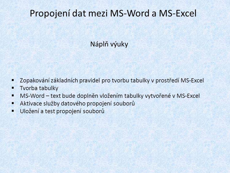 V programu MS-Excel utvořme jednoduchou tabulku, viz obr.