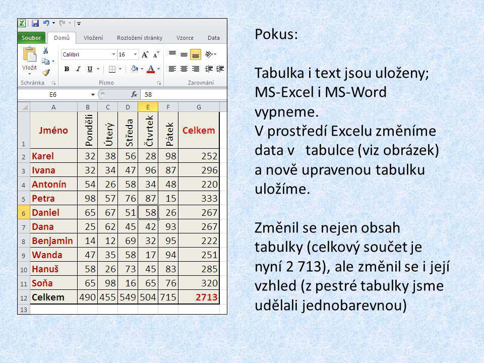 Pokus: Tabulka i text jsou uloženy; MS-Excel i MS-Word vypneme.