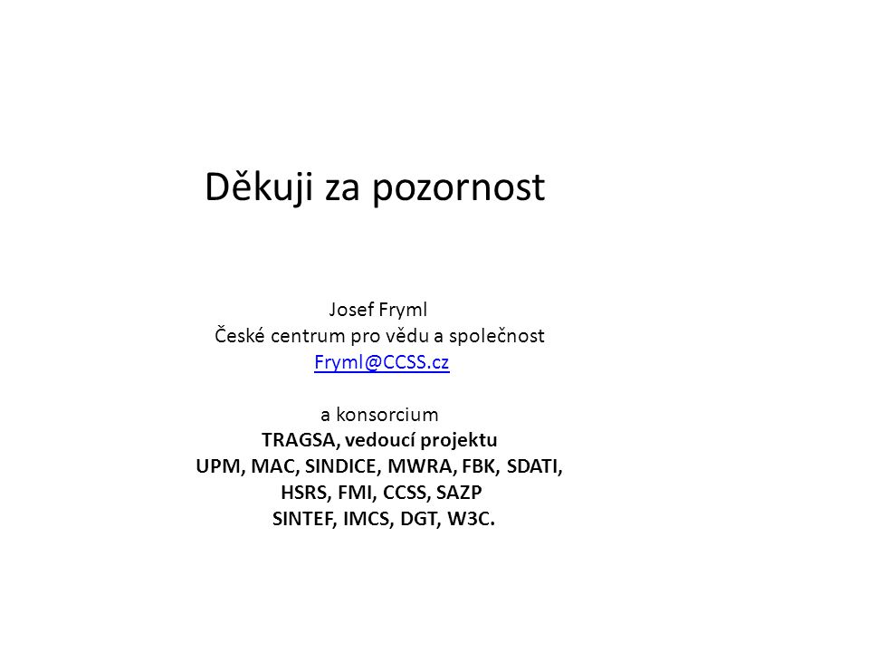 Děkuji za pozornost Josef Fryml České centrum pro vědu a společnost Fryml@CCSS.cz a konsorcium TRAGSA, vedoucí projektu UPM, MAC, SINDICE, MWRA, FBK,