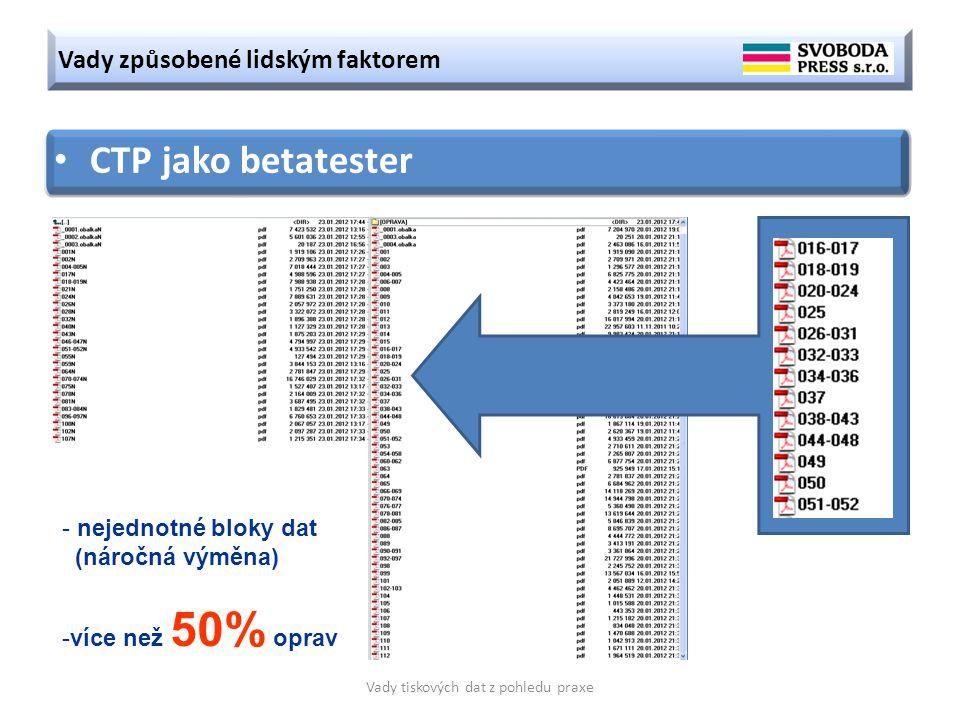 Vady způsobené lidským faktorem Vady tiskových dat z pohledu praxe CTP jako betatester - nejednotné bloky dat (náročná výměna) -více než 50% oprav