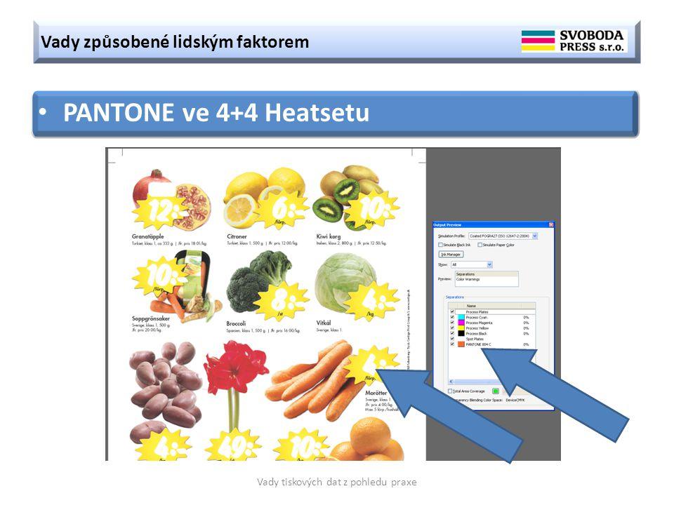 Vady způsobené lidským faktorem Vady tiskových dat z pohledu praxe PANTONE ve 4+4 Heatsetu