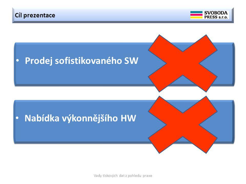 Cíl prezentace Vady tiskových dat z pohledu praxe Prodej sofistikovaného SW Nabídka výkonnějšího HW