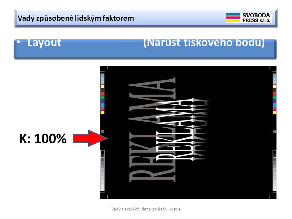 Vady způsobené lidským faktorem Vady tiskových dat z pohledu praxe Layout (Nárůst tiskového bodu) K: 100%