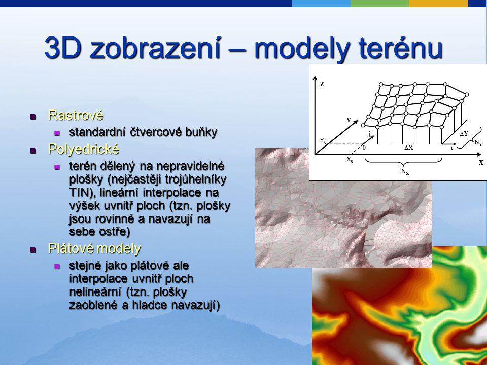 3D zobrazení – modely terénu Rastrové Rastrové standardní čtvercové buňky standardní čtvercové buňky Polyedrické Polyedrické terén dělený na nepravidelné plošky (nejčastěji trojúhelníky TIN), lineární interpolace na výšek uvnitř ploch (tzn.