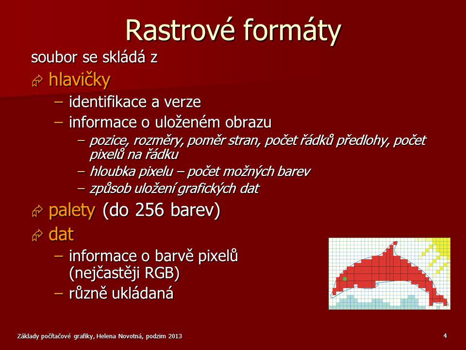 Základy počítačové grafiky, Helena Novotná, podzim 2013 5 Příklad rastrového formátu format CVG 157 ulozeno po radcich v RGB 00 ~ 255,255,255 01 ~ 255,0,0 10 ~ 0,255,0 11 ~ 255,255,0 11111111111111111111011111111101010101000000000000000111111111...