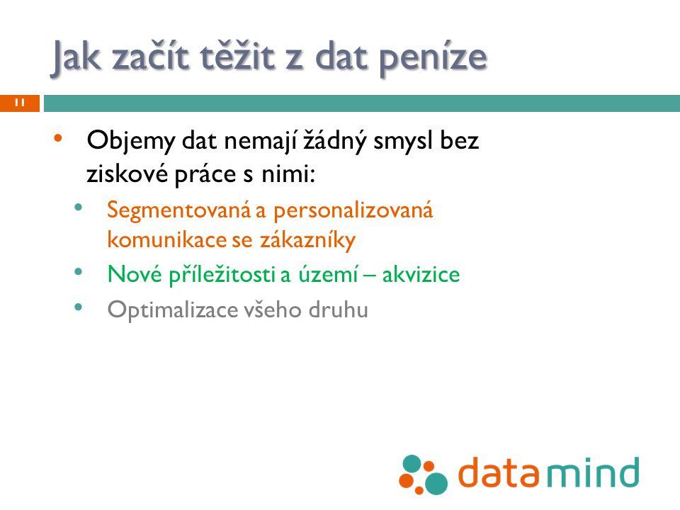 Jak začít těžit z dat peníze Objemy dat nemají žádný smysl bez ziskové práce s nimi: Segmentovaná a personalizovaná komunikace se zákazníky Nové příle
