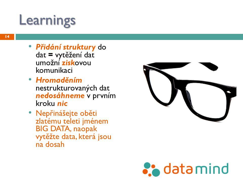Learnings Přidání struktury do dat = vytěžení dat umožní ziskovou komunikaci Hromaděním nestrukturovaných dat nedosáhneme v prvním kroku nic Nepřinášejte oběti zlatému teleti jménem BIG DATA, naopak vytěžte data, která jsou na dosah 14