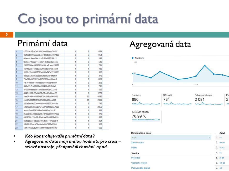 Co jsou to primární data 5 Primární data Agregovaná data Kdo kontroluje vaše primární data ? Agregovaná data mají malou hodnotu pro cross – selové nás