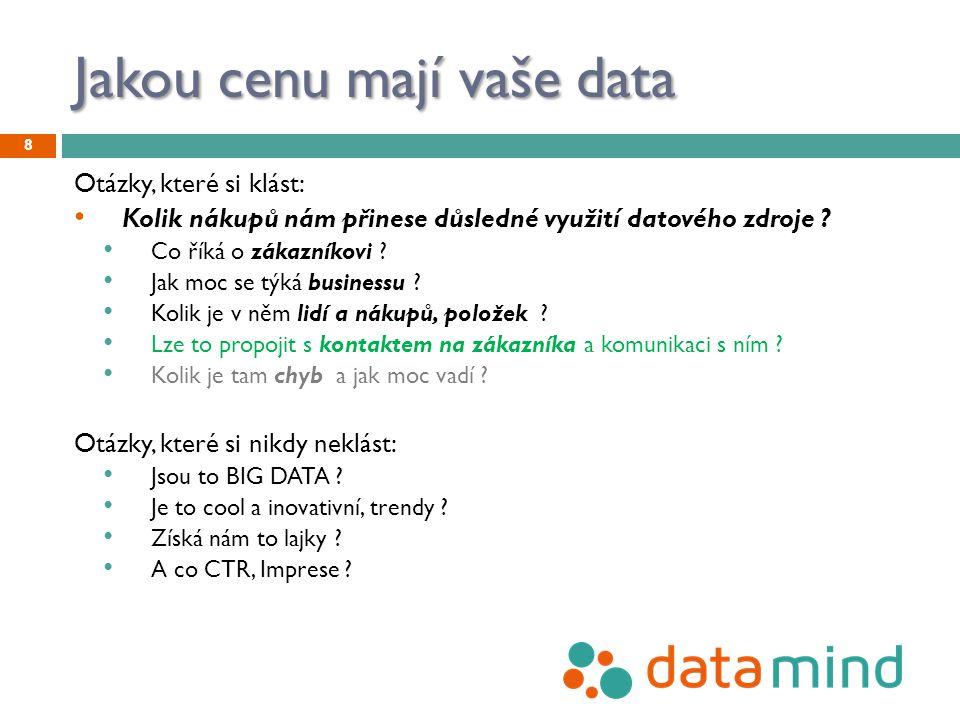 Jakou cenu mají vaše data Otázky, které si klást: Kolik nákupů nám přinese důsledné využití datového zdroje ? Co říká o zákazníkovi ? Jak moc se týká