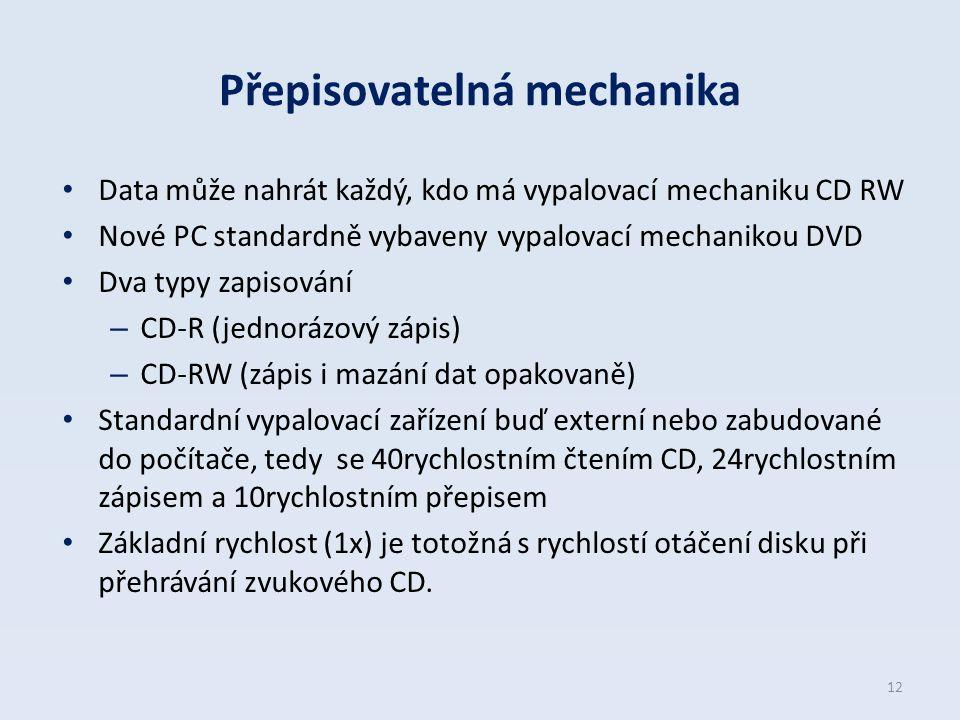 Přepisovatelná mechanika Data může nahrát každý, kdo má vypalovací mechaniku CD RW Nové PC standardně vybaveny vypalovací mechanikou DVD Dva typy zapi