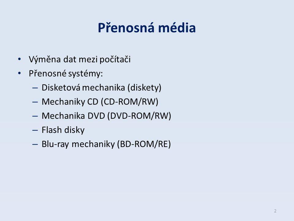 Přenosná média Výměna dat mezi počítači Přenosné systémy: – Disketová mechanika (diskety) – Mechaniky CD (CD-ROM/RW) – Mechanika DVD (DVD-ROM/RW) – Fl