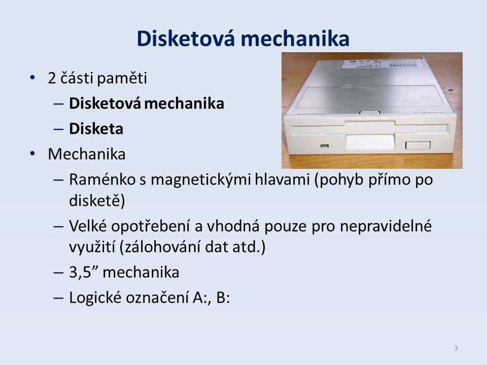 Disketová mechanika 2 části paměti – Disketová mechanika – Disketa Mechanika – Raménko s magnetickými hlavami (pohyb přímo po disketě) – Velké opotřeb