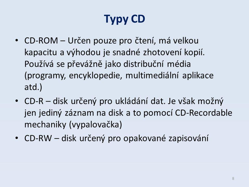 Typy CD CD-ROM – Určen pouze pro čtení, má velkou kapacitu a výhodou je snadné zhotovení kopií. Používá se převážně jako distribuční média (programy,