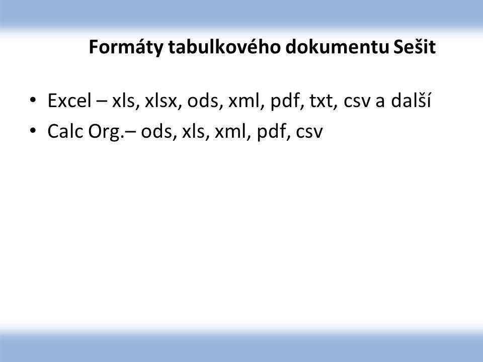 Formáty tabulkového dokumentu Sešit Excel – xls, xlsx, ods, xml, pdf, txt, csv a další Calc Org.– ods, xls, xml, pdf, csv