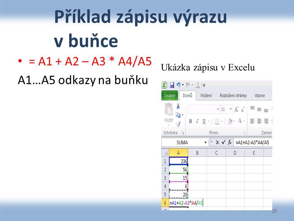 Příklad zápisu výrazu v buňce = A1 + A2 – A3 * A4/A5 A1…A5 odkazy na buňku 20 Ukázka zápisu v Excelu
