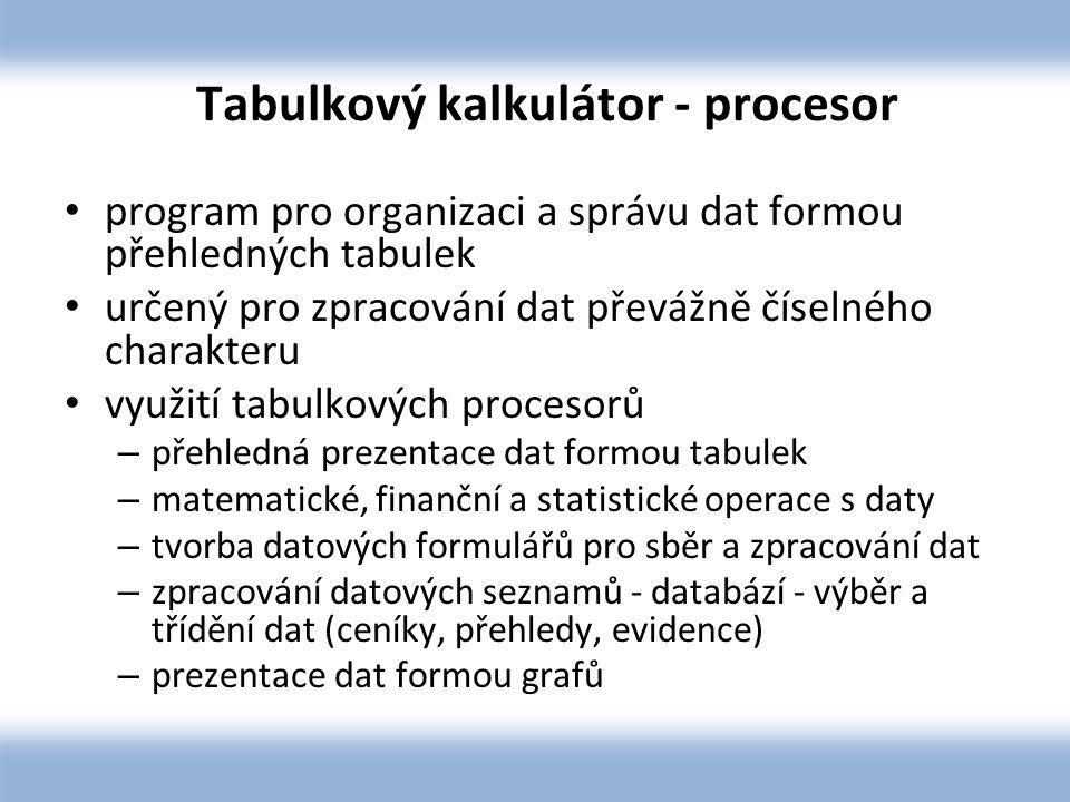 Tabulkový kalkulátor - procesor program pro organizaci a správu dat formou přehledných tabulek určený pro zpracování dat převážně číselného charakteru využití tabulkových procesorů – přehledná prezentace dat formou tabulek – matematické, finanční a statistické operace s daty – tvorba datových formulářů pro sběr a zpracování dat – zpracování datových seznamů - databází - výběr a třídění dat (ceníky, přehledy, evidence) – prezentace dat formou grafů