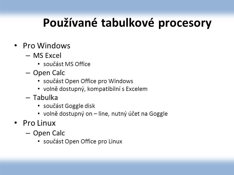 Používané tabulkové procesory Pro Windows – MS Excel součást MS Office – Open Calc součást Open Office pro Windows volně dostupný, kompatibilní s Excelem – Tabulka součást Goggle disk volně dostupný on – line, nutný účet na Goggle Pro Linux – Open Calc součást Open Office pro Linux