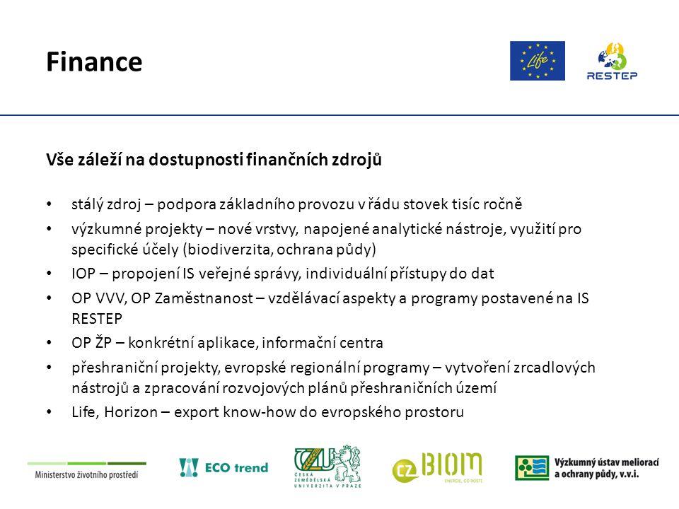 Finance Vše záleží na dostupnosti finančních zdrojů stálý zdroj – podpora základního provozu v řádu stovek tisíc ročně výzkumné projekty – nové vrstvy, napojené analytické nástroje, využití pro specifické účely (biodiverzita, ochrana půdy) IOP – propojení IS veřejné správy, individuální přístupy do dat OP VVV, OP Zaměstnanost – vzdělávací aspekty a programy postavené na IS RESTEP OP ŽP – konkrétní aplikace, informační centra přeshraniční projekty, evropské regionální programy – vytvoření zrcadlových nástrojů a zpracování rozvojových plánů přeshraničních území Life, Horizon – export know-how do evropského prostoru
