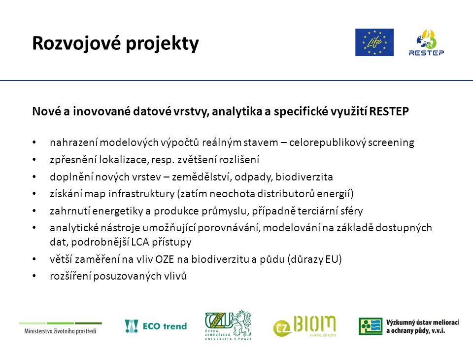 Rozvojové projekty Propojení informačních systémů, návaznost na veřejnou správu veřejná správa užívá řadu vlastních SW nástrojů propojení RESTEP na bázi GIS a lokalizace dat s plánovacími nástroji či jednotnou digitální technickou mapou přizpůsobení RESTEP a jeho výstupů územně plánovací legislativě a pravidlům pro tvorbu územních energetických koncepcí zájem ze strany veřejné správy ověřovat data – individuálně vstupovat do databází a korigovat případné chyby
