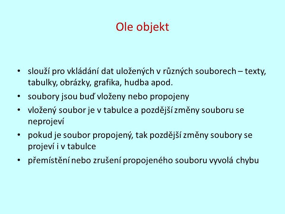 Ole objekt slouží pro vkládání dat uložených v různých souborech – texty, tabulky, obrázky, grafika, hudba apod.