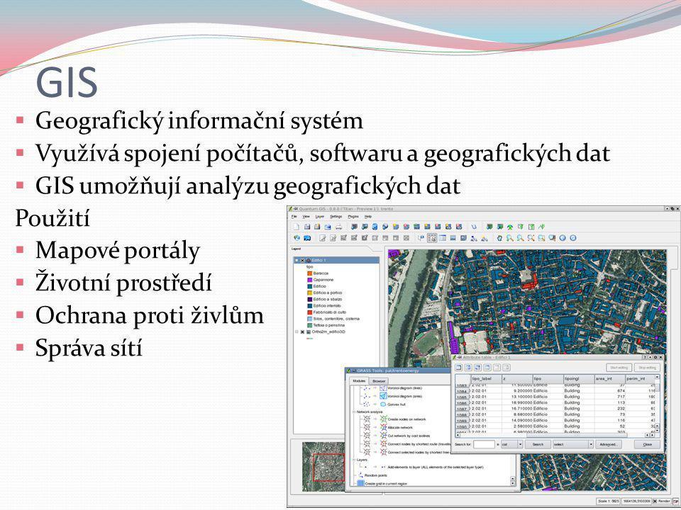 GIS  Geografický informační systém  Využívá spojení počítačů, softwaru a geografických dat  GIS umožňují analýzu geografických dat Použití  Mapové