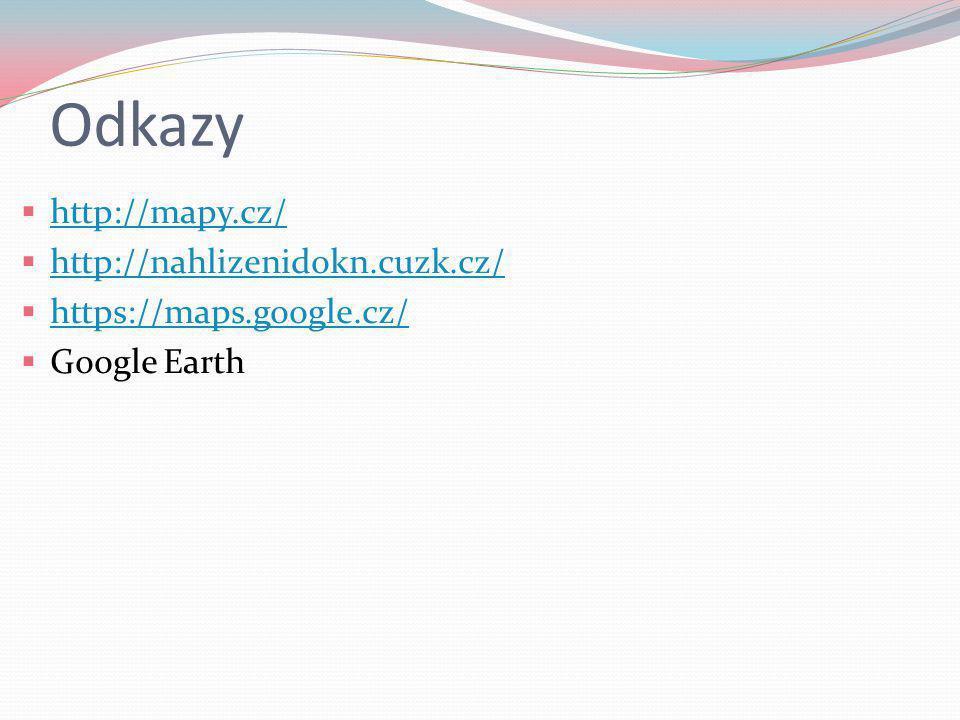 Odkazy  http://mapy.cz/ http://mapy.cz/  http://nahlizenidokn.cuzk.cz/ http://nahlizenidokn.cuzk.cz/  https://maps.google.cz/ https://maps.google.c