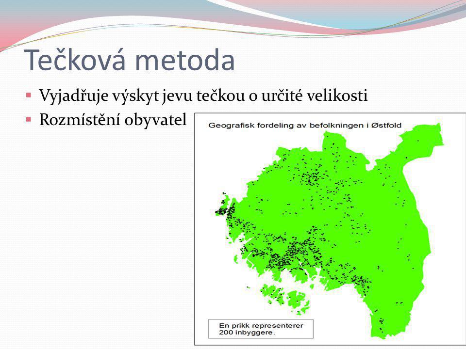 Tečková metoda  Vyjadřuje výskyt jevu tečkou o určité velikosti  Rozmístění obyvatel