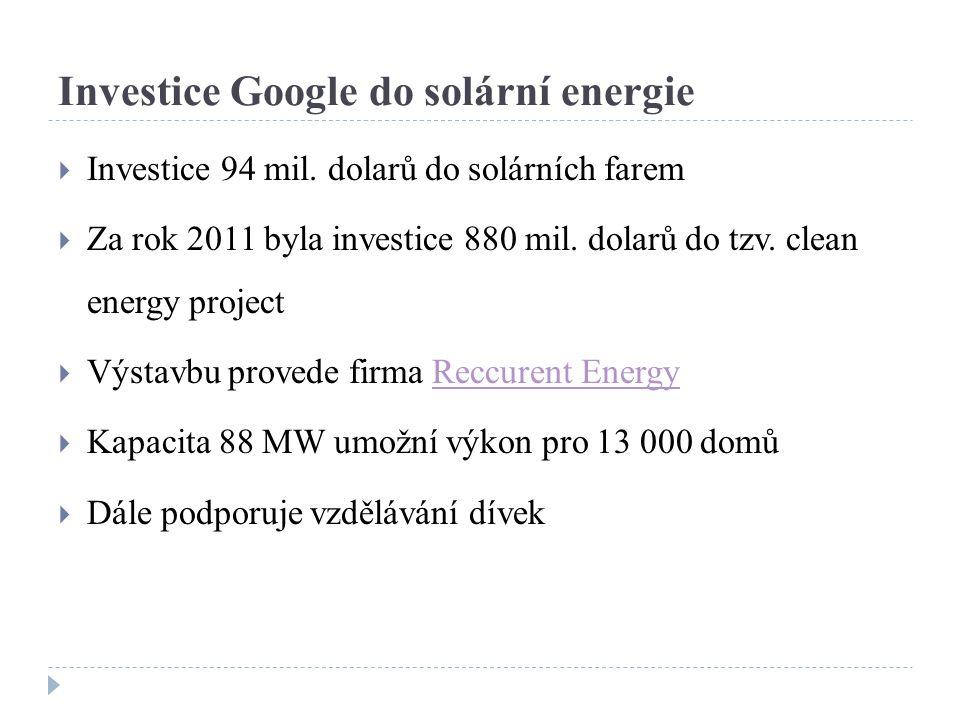 Investice Google do solární energie  Investice 94 mil.