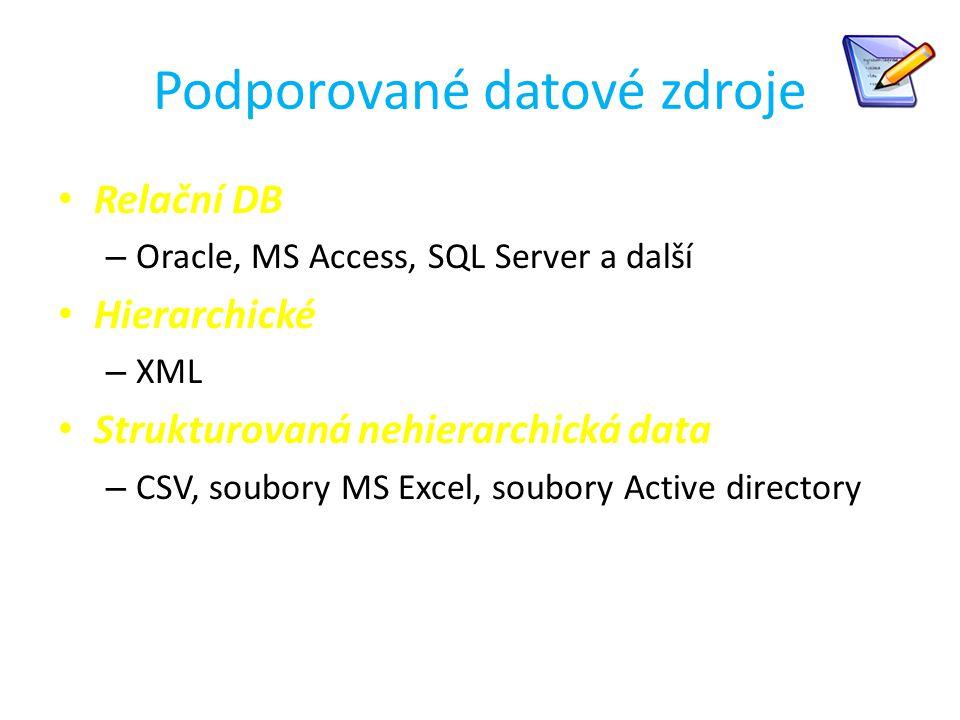 Podporované datové zdroje Relační DB – Oracle, MS Access, SQL Server a další Hierarchické – XML Strukturovaná nehierarchická data – CSV, soubory MS Ex