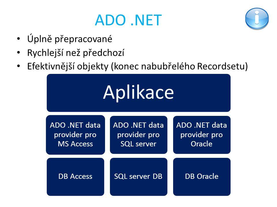 ADO.NET Úplně přepracované Rychlejší než předchozí Efektivnější objekty (konec nabubřelého Recordsetu) Aplikace ADO.NET data provider pro MS Access DB
