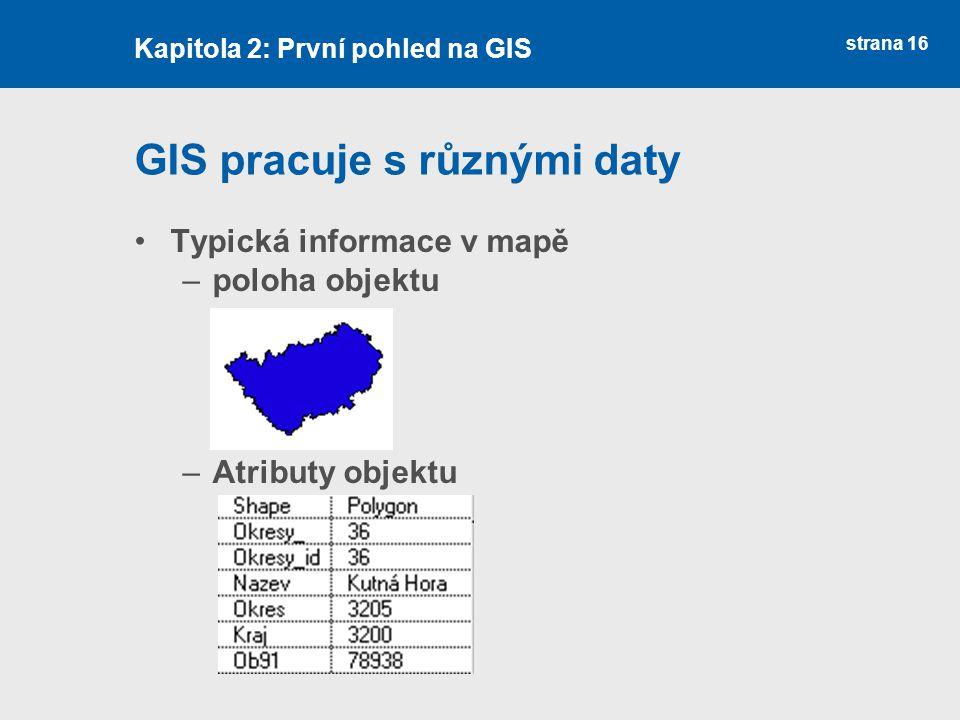 strana 16 GIS pracuje s různými daty Typická informace v mapě –poloha objektu –Atributy objektu Kapitola 2: První pohled na GIS