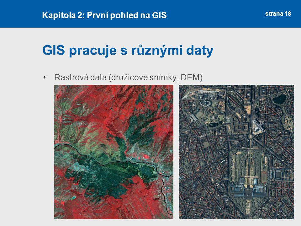 strana 18 GIS pracuje s různými daty Rastrová data (družicové snímky, DEM) Kapitola 2: První pohled na GIS