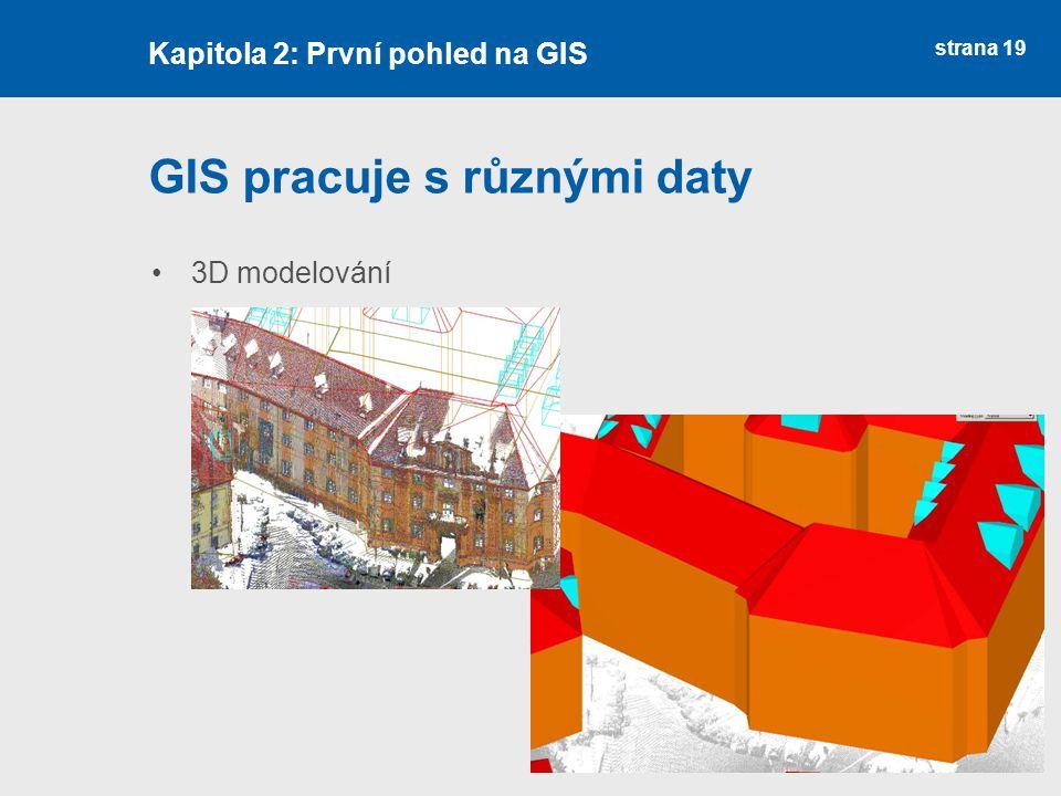 strana 19 GIS pracuje s různými daty 3D modelování Kapitola 2: První pohled na GIS