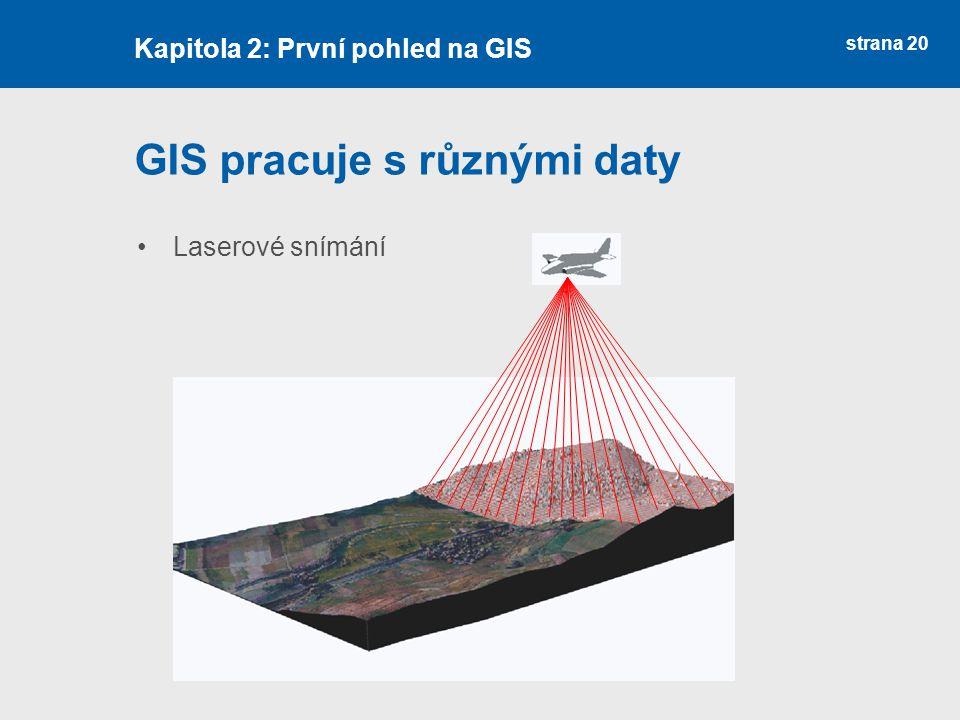 strana 20 GIS pracuje s různými daty Laserové snímání Kapitola 2: První pohled na GIS