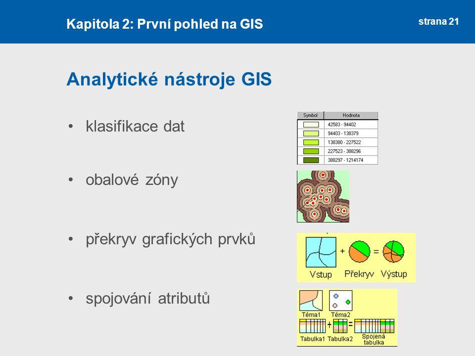 strana 21 Analytické nástroje GIS klasifikace dat obalové zóny překryv grafických prvků spojování atributů Kapitola 2: První pohled na GIS