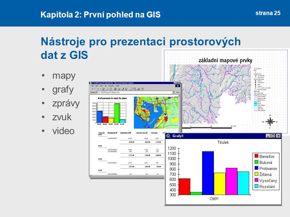 strana 25 Nástroje pro prezentaci prostorových dat z GIS mapy grafy zprávy zvuk video Kapitola 2: První pohled na GIS
