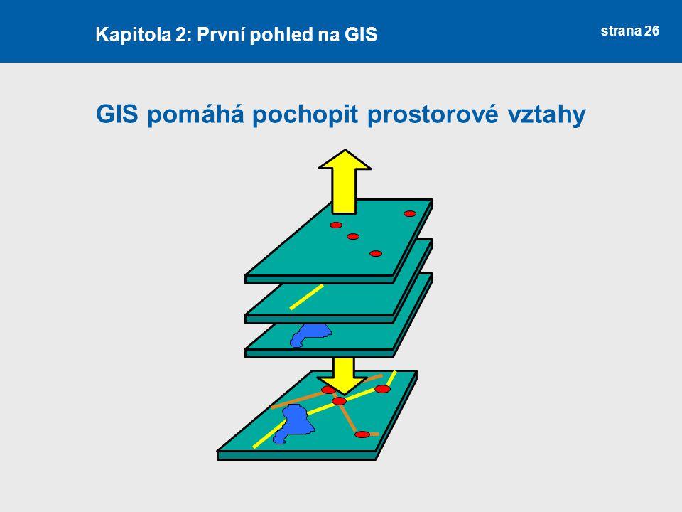 strana 26 GIS pomáhá pochopit prostorové vztahy Kapitola 2: První pohled na GIS