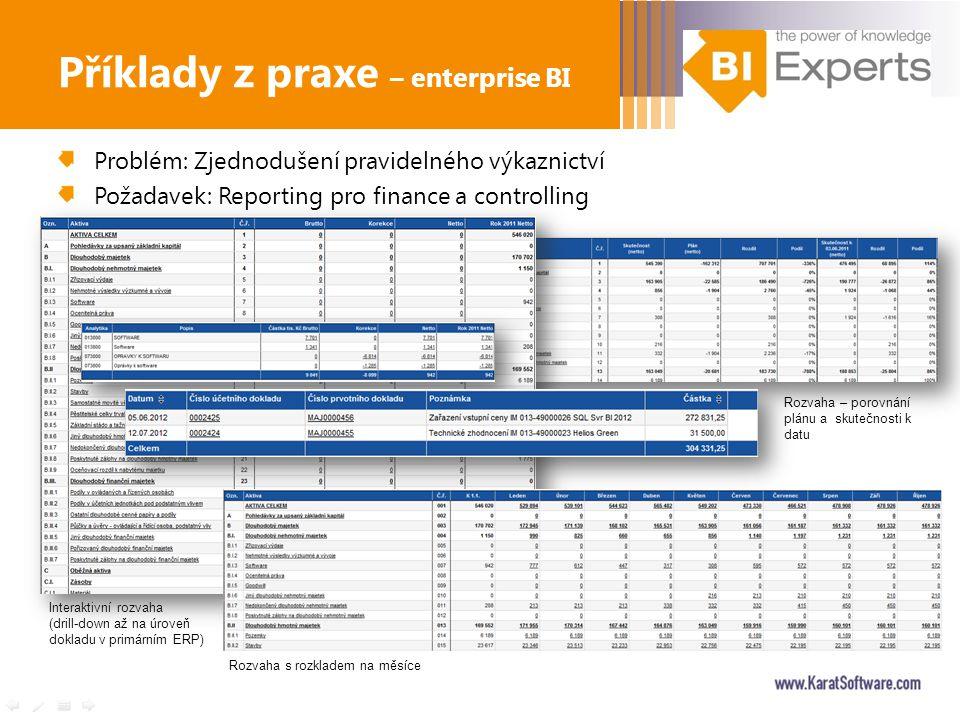 Problém: Zjednodušení pravidelného výkaznictví Požadavek: Reporting pro finance a controlling Příklady z praxe – enterprise BI Interaktivní rozvaha (d