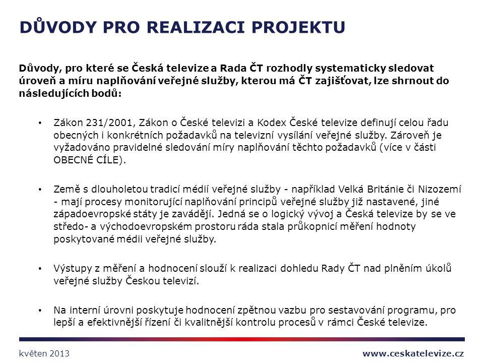 Důvody, pro které se Česká televize a Rada ČT rozhodly systematicky sledovat úroveň a míru naplňování veřejné služby, kterou má ČT zajišťovat, lze shr