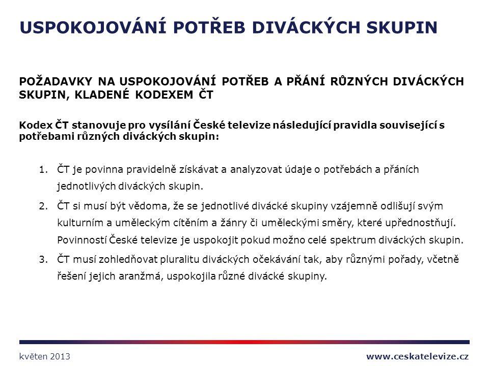 POŽADAVKY NA USPOKOJOVÁNÍ POTŘEB A PŘÁNÍ RŮZNÝCH DIVÁCKÝCH SKUPIN, KLADENÉ KODEXEM ČT Kodex ČT stanovuje pro vysílání České televize následující pravi
