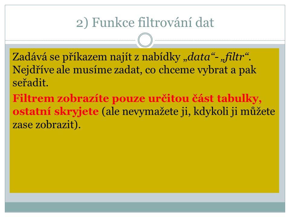 """2) Funkce filtrování dat Zadává se příkazem najít z nabídky """"data""""- """"filtr"""". Nejdříve ale musíme zadat, co chceme vybrat a pak seřadit. Filtrem zobraz"""