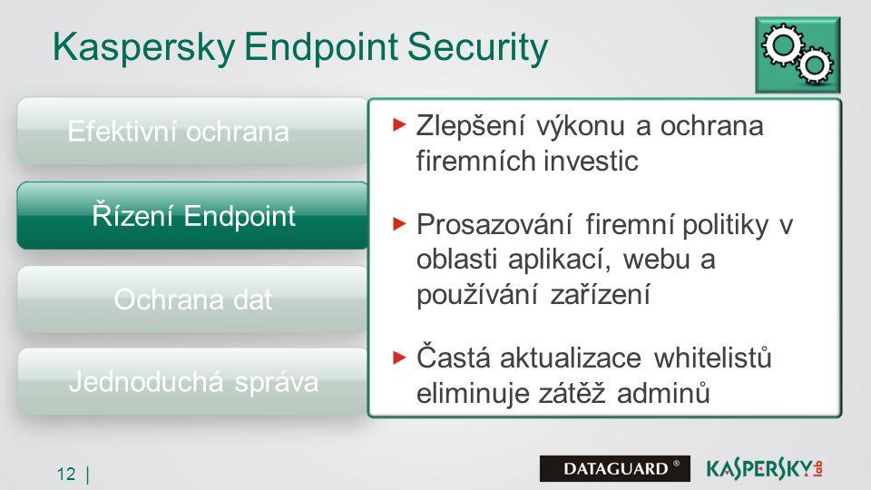 12 | Efektivní ochrana Řízení Endpoint Ochrana dat Jednoduchá správa Zlepšení výkonu a ochrana firemních investic Prosazování firemní politiky v oblasti aplikací, webu a používání zařízení Častá aktualizace whitelistů eliminuje zátěž adminů Kaspersky Endpoint Security