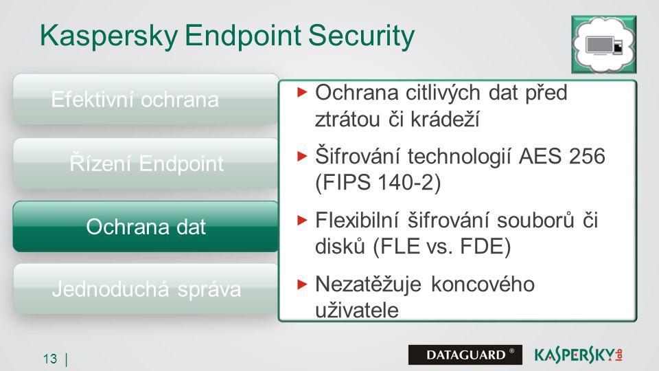 13 | Efektivní ochrana Kaspersky Endpoint Security Řízení Endpoint Ochrana dat Jednoduchá správa Ochrana citlivých dat před ztrátou či krádeží Šifrování technologií AES 256 (FIPS 140-2) Flexibilní šifrování souborů či disků (FLE vs.