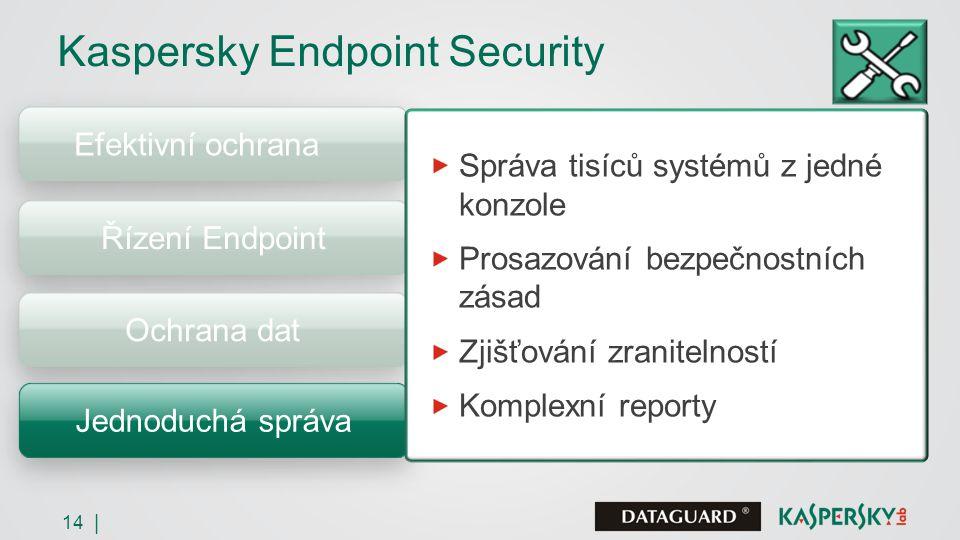 14 | Efektivní ochrana Kaspersky Endpoint Security Řízení Endpoint Ochrana dat Jednoduchá správa Správa tisíců systémů z jedné konzole Prosazování bezpečnostních zásad Zjišťování zranitelností Komplexní reporty