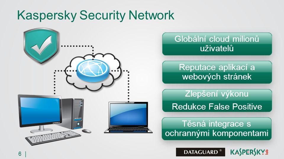 6 | Kaspersky Security Network Globální cloud milionů uživatelů Reputace aplikací a webových stránek Zlepšení výkonu Redukce False Positive Zlepšení výkonu Redukce False Positive Těsná integrace s ochrannými komponentami